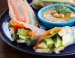 Fresh Vegetarian Rolls With Spicy Peanut Dipping Sauce...